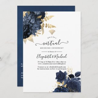 Navy and Gold Virtual Wedding Invitations Vintage Shabby Roses