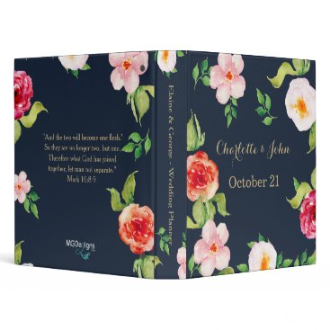 navy and gold watercolor flowers wedding binder