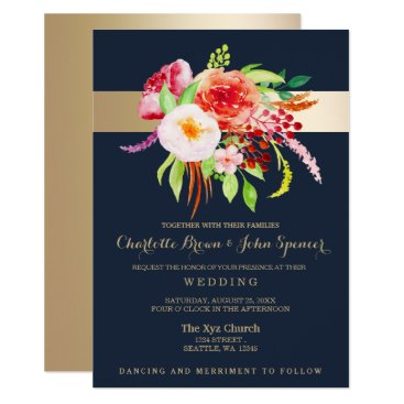 navy and gold watercolor flowers wedding card
