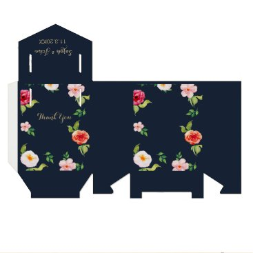 navy and gold watercolor flowers wedding favor box