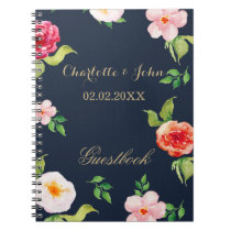 navy and gold watercolor flowers wedding notebook