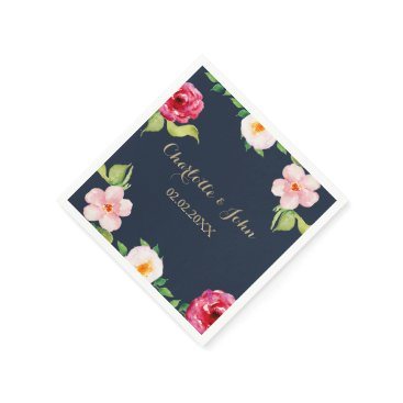 navy and gold watercolor flowers wedding paper napkin