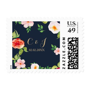 navy and gold watercolor flowers wedding postage