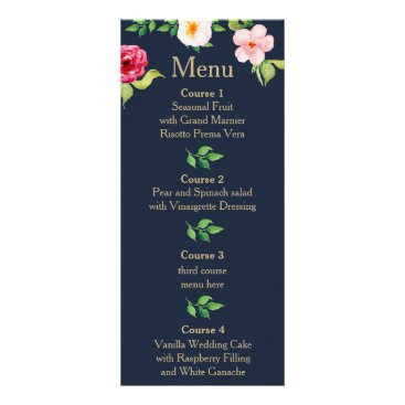 navy and gold watercolor flowers wedding rack card