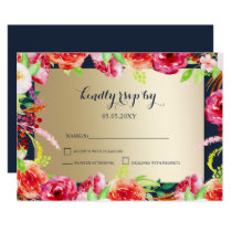 navy and gold watercolor flowers wedding rsvp card