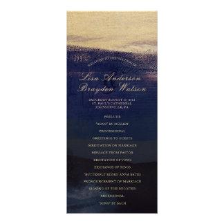 Navy and Gold Watercolor Wash Wedding Program