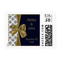 navy and gold wedding postage
