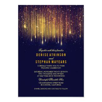 "Navy and Gold Wedding String Lights Invite 5"" X 7"" Invitation Card"