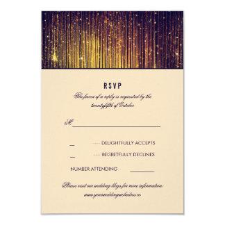 Navy and Gold Wedding String Lights RSVP Card