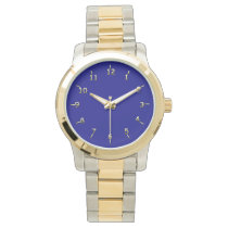 Navy and Gold Wrist Watch