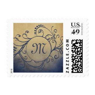 Navy and Gold Zig Zag Wedding Postage Stamp
