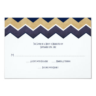 Navy and Gold Zig Zag Wedding RSVP Card