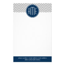 Navy and Gray Chevron Pattern Custom Monogram Stationery