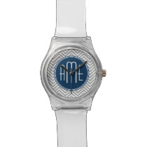 Navy and Gray Chevron Pattern Custom Monogram Wrist Watch
