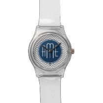 Navy and Gray Chevron Pattern Custom Monogram Wristwatches