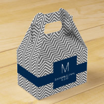 Navy and Gray Chevron Pattern Monogram Wedding Favor Box