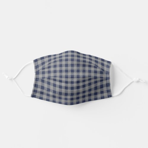 Navy And Gray Mens Plaid Adult Cloth Face Mask