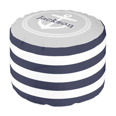 Navy and Gray Nautical Stripes Anchor Monogram Pouf