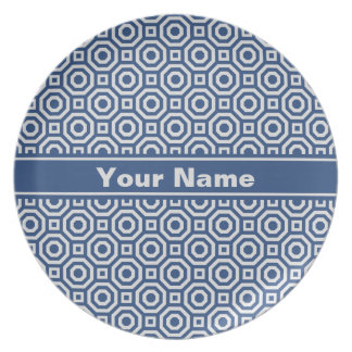 Navy and Gray Nested Octagon Melamine Plate