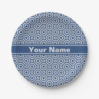 Navy and Gray Nested Octagon Paper Plate 7 Inch Paper Plate