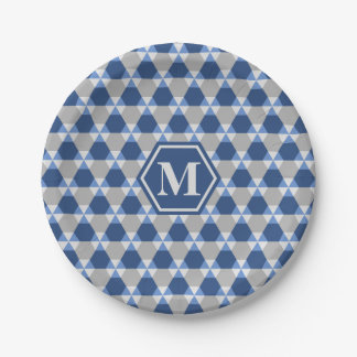 Navy and Gray Triangle-Hex Paper Plate 7 Inch Paper Plate