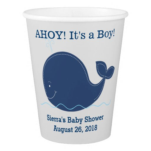 Navy and Gray Whale Nautical Paper Cup