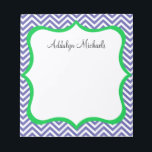 "Navy and Green Chevron Personalized Notepad<br><div class=""desc"">Make your to-do lists fun with this super cute navy chevron personalized notepad! Change the name to yours and you have the perfect notepad that&#39;s made just for you! Makes a great gift,  too!</div>"