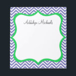 """Navy and Green Chevron Personalized Notepad<br><div class=""""desc"""">Make your to-do lists fun with this super cute navy chevron personalized notepad! Change the name to yours and you have the perfect notepad that&#39;s made just for you! Makes a great gift,  too!</div>"""