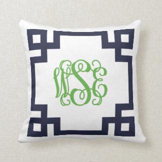 Navy and Green Greek Key Script Monogram Pillows