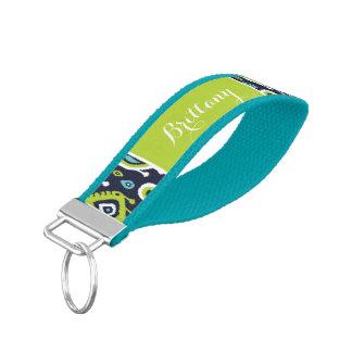 Navy and Green Ikat Paisley Monogram Wrist Keychain