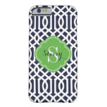Navy and Green Modern Trellis Monogram Barely There iPhone 6 Case