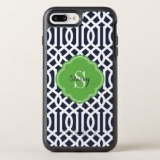 Navy and Green Modern Trellis Monogram OtterBox Symmetry iPhone 7 Plus Case at Zazzle