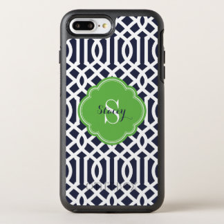 Navy and Green Modern Trellis Monogram OtterBox Symmetry iPhone 7 Plus Case