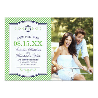 NAVY AND GREEN NAUTICAL ANCHOR PHOTO SAVE THE DATE 5X7 PAPER INVITATION CARD