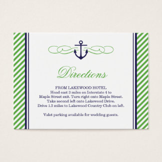 Navy and Green Nautical Anchor Wedding Insert Card
