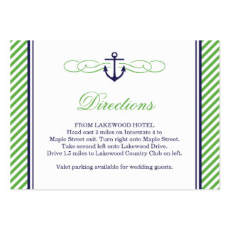 Navy and Green Nautical Anchor Wedding Insert Card Business Card Template