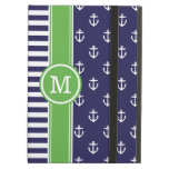 Navy and Green Nautical Anchors Monogram iPad Air Cases