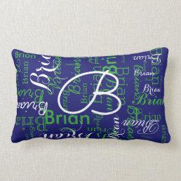 navy and green pattern of names lumbar pillow