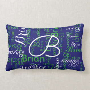 Navy And Green Pattern Of Names Lumbar Pillow at Zazzle