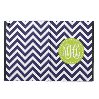 Navy and Green Preppy Chevron Script Monogram Cover For iPad Air