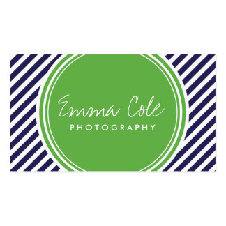 Navy and Green Preppy Stripes Double-Sided Standard Business Cards (Pack Of 100)