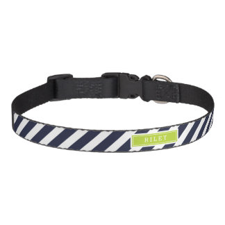 Navy and Green Preppy Stripes Monogram Pet Collar