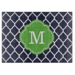 Navy and Green Quatrefoil Custom Monogram Cutting Board