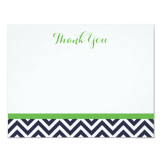 Navy and Green Simple Chevron Thank You Note Cards