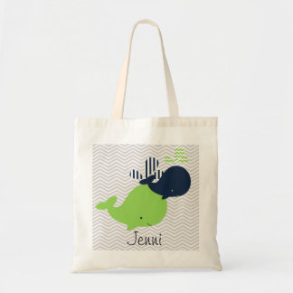 Navy and Green Whales on Chevron Stripe Custom Bag