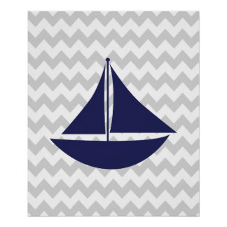 Navy and Grey Chevron Nautical Ship Poster
