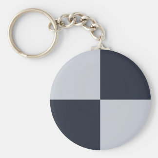 Navy and Grey Rectangles Basic Round Button Keychain