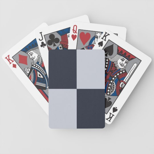 Navy and Grey Rectangles Bicycle Playing Cards