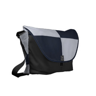 Navy and Grey Rectangles Commuter Bag