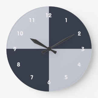 Navy and Grey Rectangles Large Clock